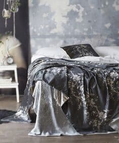 Chinoiserie flow velvet - Pewter/Tea - 1.5m remnant